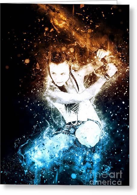Teen Girl Wielding A Flaming Sword  Greeting Card by Ilan Rosen