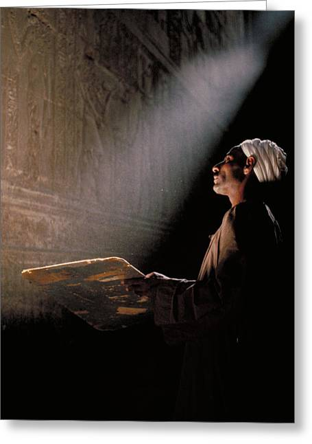Temple Guide In Egypt Greeting Card by Carl Purcell