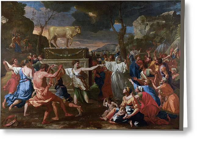 The Adoration Of The Golden Calf Greeting Card by Nicolas Poussin