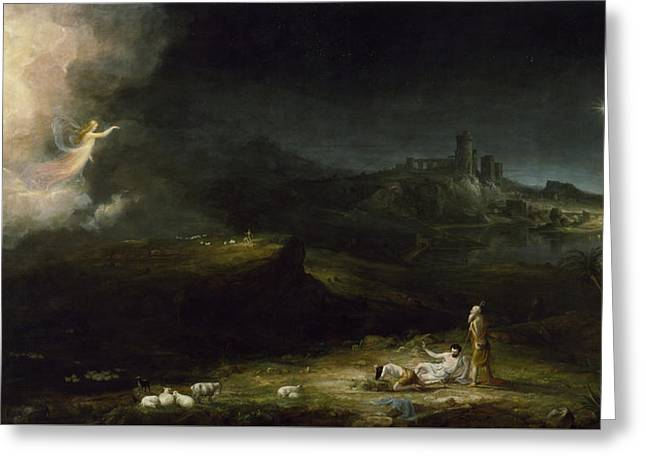 The Angel Appearing To The Shepherds Greeting Card by Thomas Cole