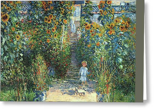 The Artist's Garden At Vetheuil Greeting Card by Claude Monet