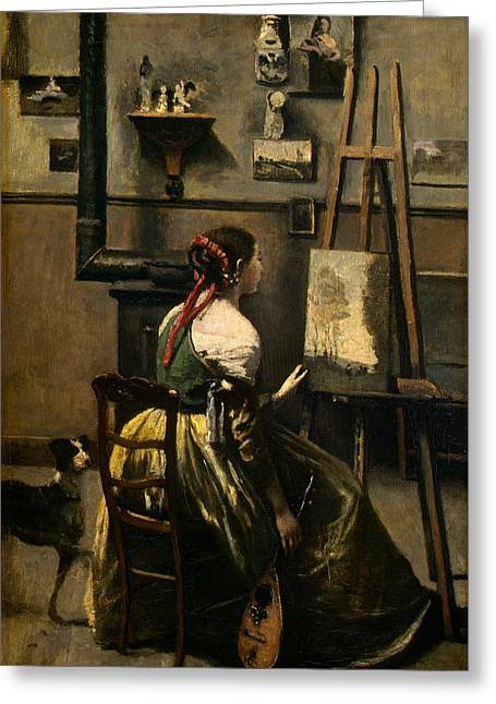 The Artist's Studio Greeting Card by Jean-Baptiste-Camille Corot