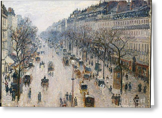 The Boulevard Montmartre On A Winter Morning Greeting Card by Celestial Images