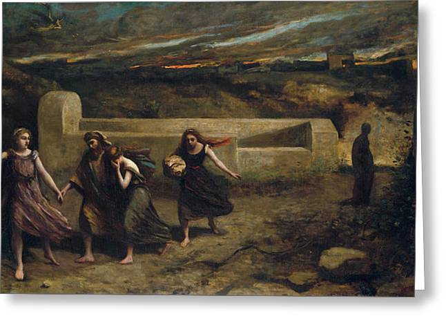 The Burning Of Sodom Greeting Card by Camille Corot