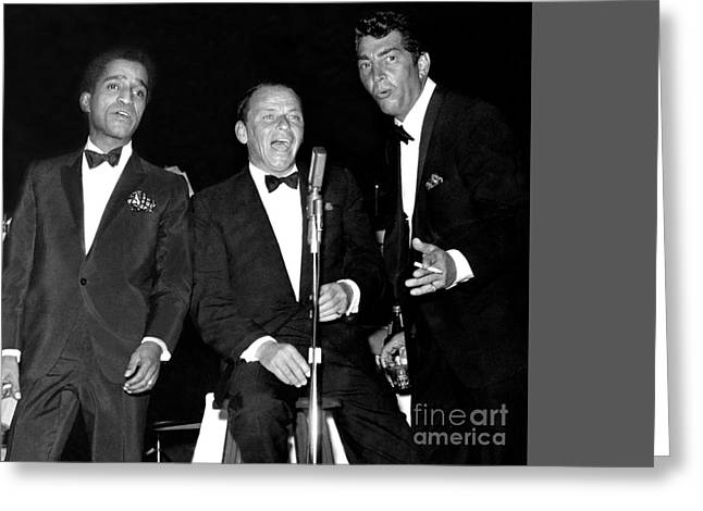 The Cast Of Ocean's 11 And Members Of The Rat Pack. Greeting Card by The Titanic Project