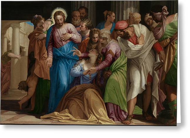 The Conversion Of Mary Magdalene Greeting Card by Paolo Veronese