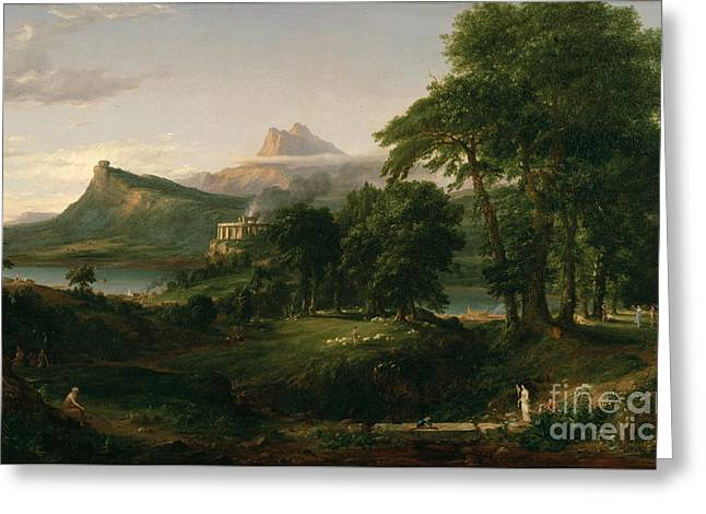 The Course Of Empire The Arcadian Or Pastoral State Greeting Card by Celestial Images