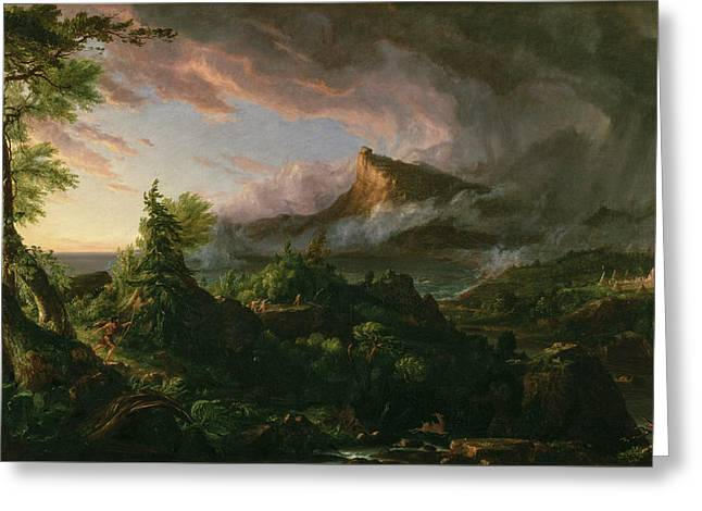 The Course Of Empire, The Savage State Greeting Card by Thomas Cole