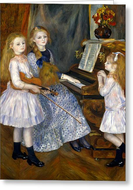 The Daughters Of Catulle Mendes Greeting Card by Pierre-Auguste Renoir
