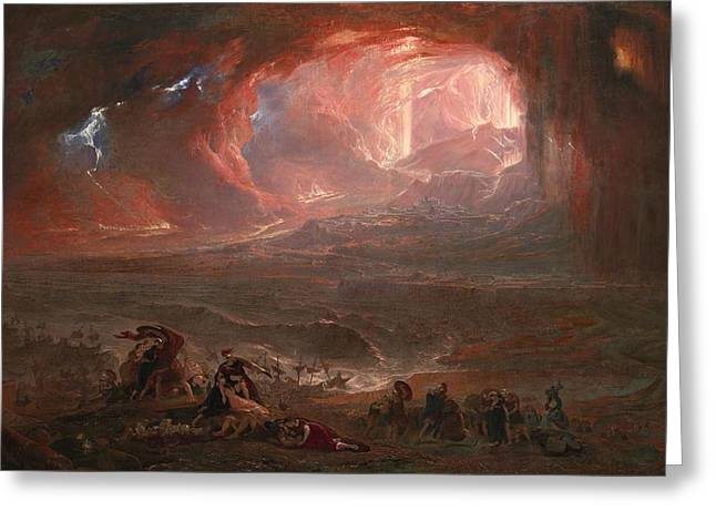 The Destruction Of Pompei And Herculaneum Greeting Card by John Martin