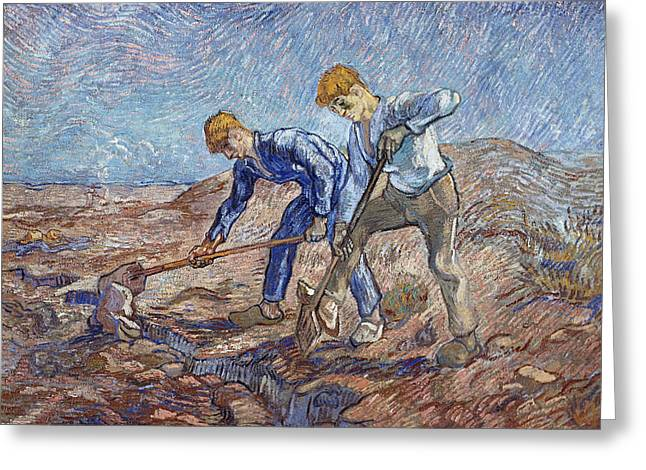 The Diggers Greeting Card by Vincent Van Gogh
