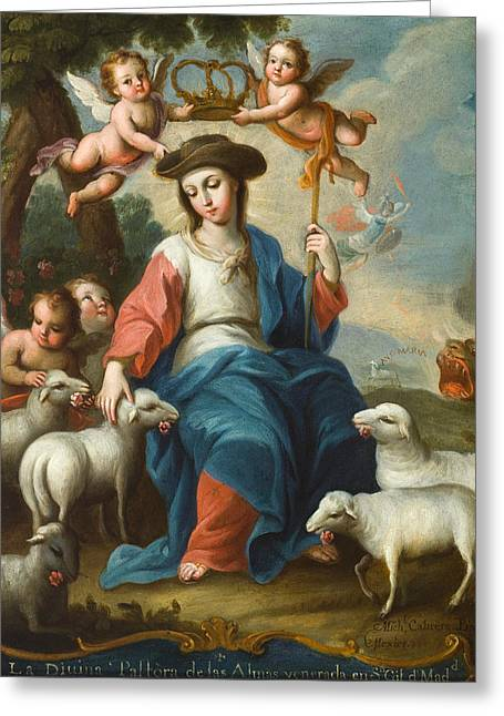 The Divine Shepherdess Greeting Card by Miguel Cabrera