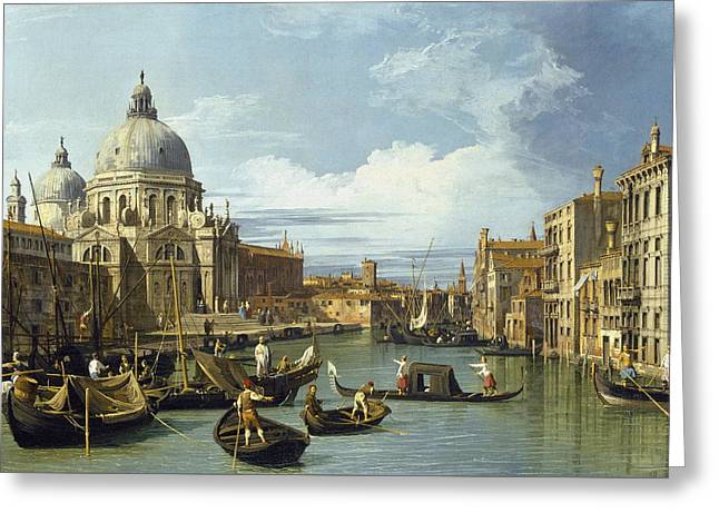The Entrance To The Grand Canal, Venice Greeting Card by Canaletto