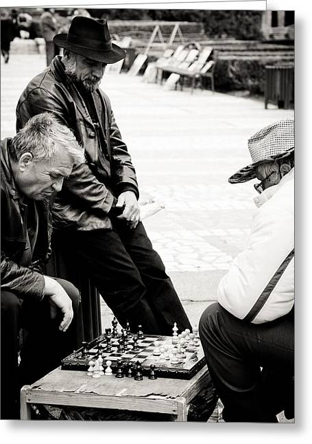Chess Player Greeting Cards - The final match Greeting Card by Gabriela Insuratelu