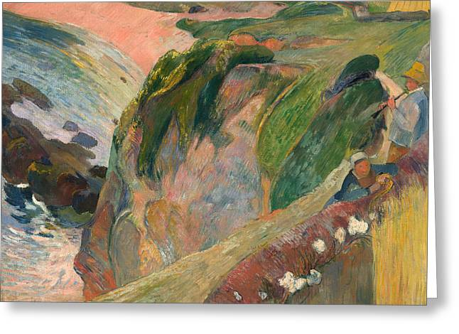 The Flageolet Player On The Cliff Greeting Card by Paul Gauguin