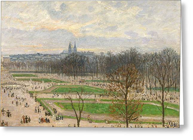 The Garden Of The Tuileries On A Winter Afternoon Greeting Card by Camille Pissarro
