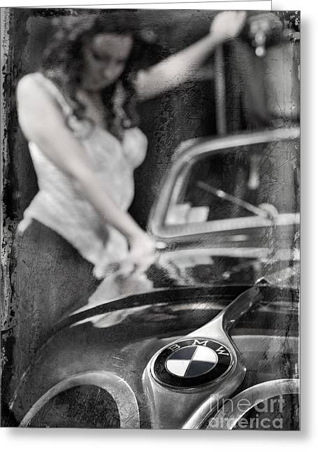 Greeting Card featuring the photograph The Girl On The Background Of Vintage Car. by Andrey  Godyaykin