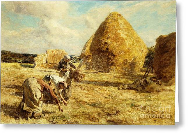 The Gleaners Greeting Card by Leon Augustin Lhermitte