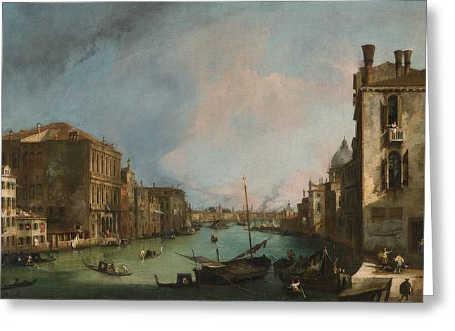 The Grand Canal In Venice With The Palazzo Corner Ca'grande Greeting Card by Canaletto