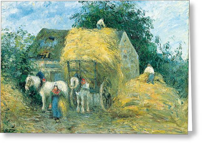 The Hay Cart. Montfoucault Greeting Card by Camille Pissarro