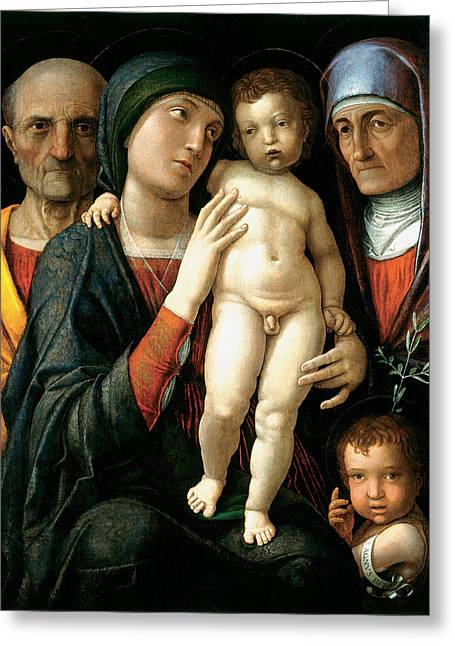 The Holy Family Greeting Card by Andrea Mantegna