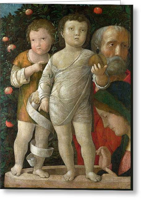 The Holy Family With Saint John Greeting Card by Andrea Mantegna