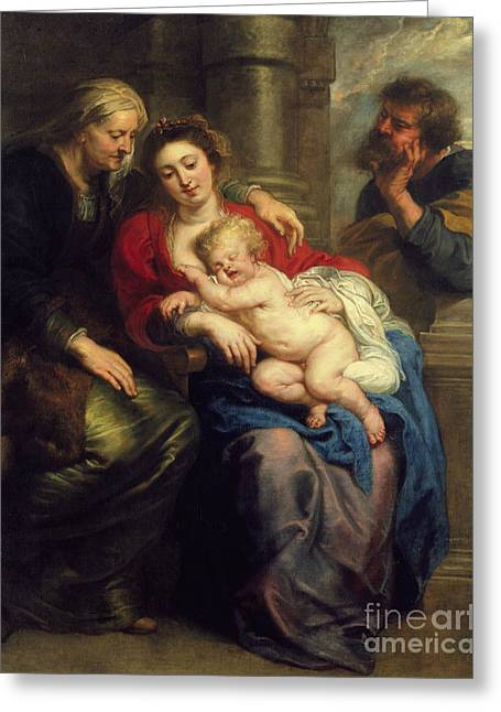 The Holy Family With St Anne Greeting Card