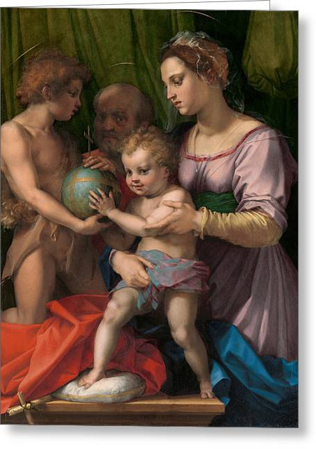 The Holy Family With The Young Saint John The Baptist Greeting Card by Andrea del Sarto