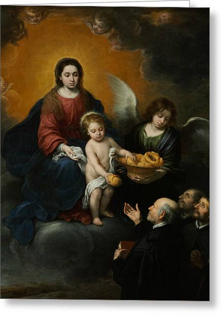 The Infant Christ Distributing Bread To The Pilgrims Greeting Card by Bartolome Esteban Murillo