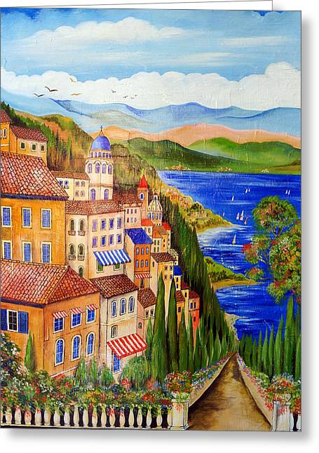 Greeting Card featuring the painting The Lake by Roberto Gagliardi