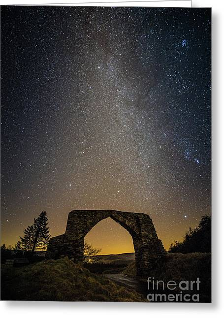 The Milky Way Over The Hafod Arch, Ceredigion Wales Uk Greeting Card
