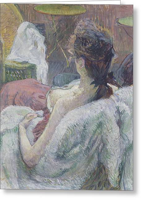 The Model Resting Greeting Card by Henri de Toulouse-Lautrec