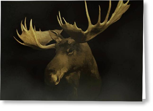 Greeting Card featuring the digital art The Moose by Ernie Echols