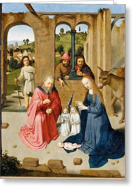 The Nativity Greeting Card by Gerard David