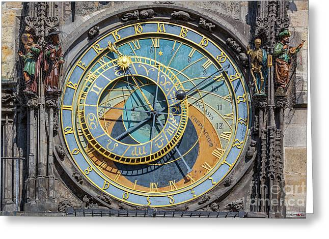The Prague Astronomical Clock, Or Prague Orloj In Prague, Czech Republic Greeting Card by Michal Bednarek