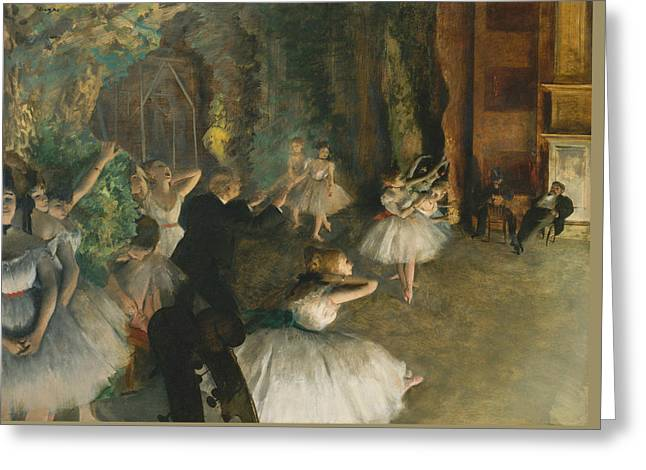 The Rehearsal Of The Ballet Onstage Greeting Card