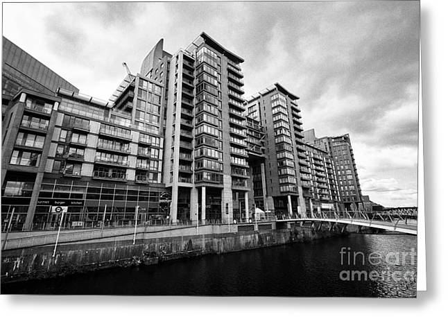 The River Irwell Between Spinningfields And Salford Manchester England Uk Greeting Card by Joe Fox