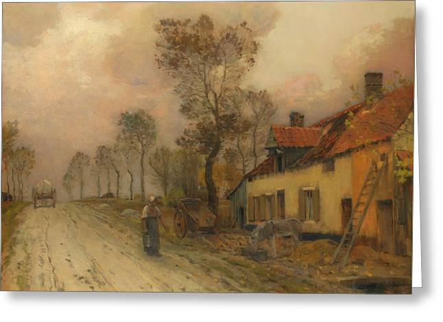 Greeting Card featuring the painting The Route Nationale At Samer by Jean-Charles Cazin