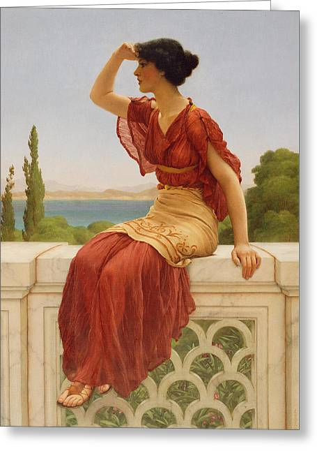 The Signal Greeting Card by John William Godward