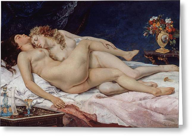 The Sleepers Greeting Card by Gustave Courbet
