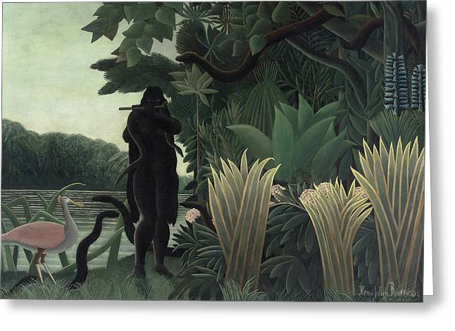The Snake Charmer Greeting Card by Henri Rousseau