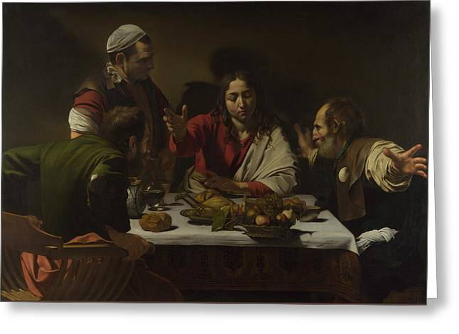 The Supper At Emmaus Greeting Card by Michelangelo Merisi da Caravaggio