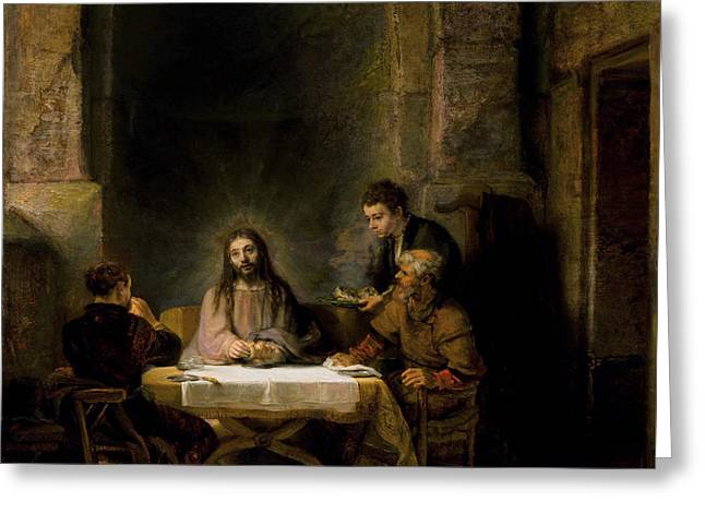 The Supper At Emmaus Greeting Card by Rembrandt van Rijn