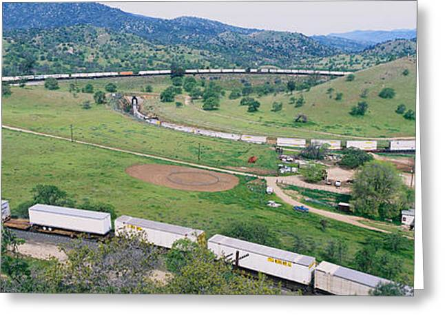 Southern Pacific Greeting Cards - The Tehachapi Train Loop Near Tehachapi Greeting Card by Panoramic Images