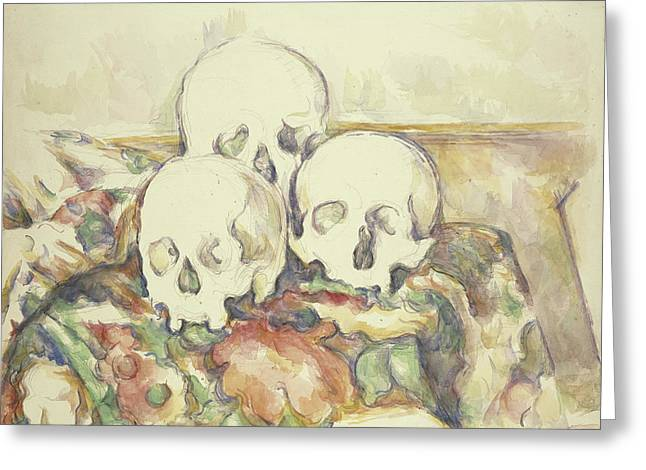 The Three Skulls Greeting Card by Paul Cezanne