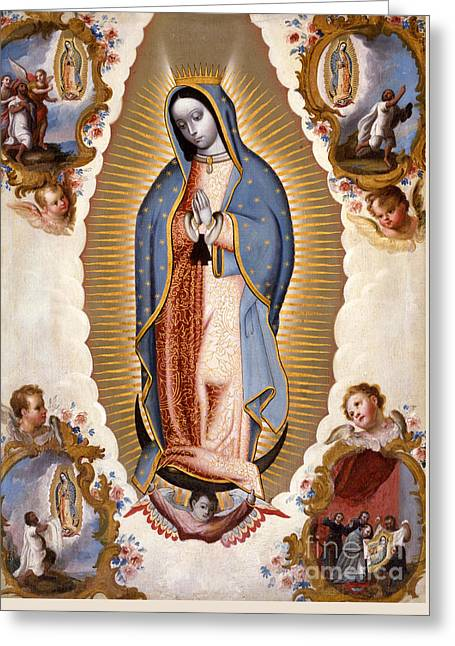 The Virgin Of Guadalupe  Greeting Card by Mexican School