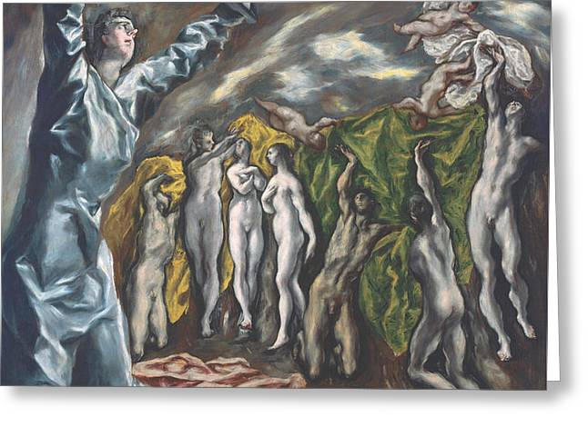 The Vision Of Saint John Greeting Card by El Greco