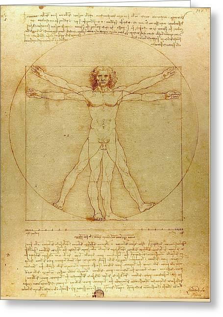 The Vitruvian Man Greeting Card by Leonardo da Vinci