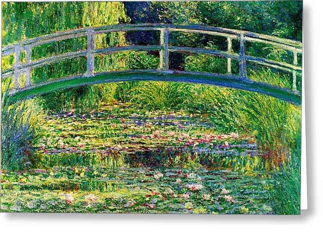 The Waterlily Pond With The Japanese Bridge Greeting Card