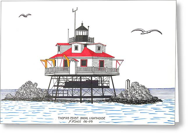 Thomas Point Shoal Lighthouse Greeting Card by Frederic Kohli